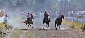Horse racing in the early days of Soldotna's Progress Days festival in the early 1960s. Abby Lancashire is on the left, with her dad, Larry, in the middle.