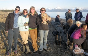 Photos provided by the Kachemak Heritage Land Trust Kachemak Heritage Land Trust. development committee members and staff Betsy Webb, Mandy Bernard, Marie McCarty and Denise Jantz enjoy a break in the sunshine during a meeting in Homer last week of land trust representatives throughout the state.
