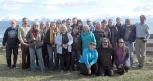 Attendees of a statewide land trust meeting last week pose for a photo in Homer.