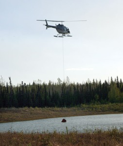 An Alaska Division of Forestry helicopter fills up its bucket in a pond alongside Mile 6 Funny River Road on Monday for another run to the fire.