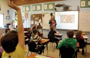 Claire Kincaid gives a lesson on Mexican culture and the history of Cinco de Mayo to Jake Eveland's fifth-grade class at Redoubt Elementary School in Soldotna on May 5.