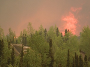 Flames shoot above the trees near a home in Funny River as the blaze drew near. The Alaska Division of Forestry recommends residents follow the FireWise program and create defensible space around their homes.