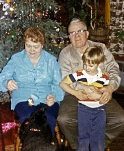 Helen and Pat Gwin with Iver Ohnemus in Gwin's Lodge during their 1976, all-community Christmas party.