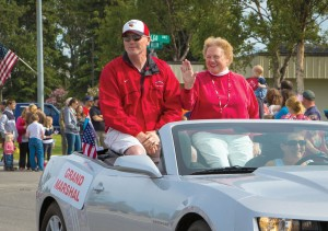 Photo courtesy of Debbie Boyle. Retired KCHS Choir teacher Renee Henderson, along with former KCHS football coach and Assistant Principal Jim Beeson, was named grand marshal of the city of Kenai's Fourth of July parade this year.