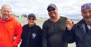 Photo courtesy of Lisa Ferguson. A dip-netter, far right (unidentified) lost his dentures to a wave in the Kenai River on July 19, and found them the following day, with the help of Kyle Ferguson, of Kenai. Pictured at left are Ferguson's friends, Gary and Kim Morgan.
