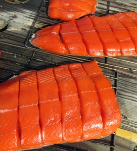 Red is gold in Dillingham, as in this salmon, ready for the smoker.