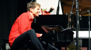 Photos courtesy of Jason Farnham. Playing a toy piano is one of several tricks up Jason Farnham's sleeve in his quirky concert tour. He performs at Christ Lutheran Church in Soldotna at 7 p.m. Friday.