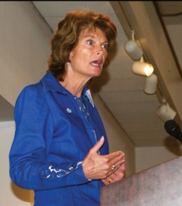 Photo by Jenny Neyman, Redoubt Reporter. Sen. Lisa Murkowski, R-Alaska, addresses a joint meeting of the Kenai and Soldotna chambers of commerce on Aug. 20.
