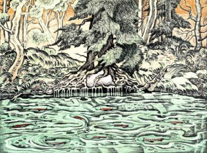 """Salmon Cove"" stone lithography print by Jim Evenson."