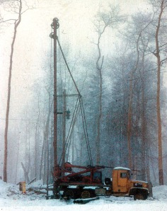 Photo courtesy of Clark Fair. Old-school equipment was the only way to roll in homestead days, such as this rig used to dig a well on the Fair homestead in the 1960s.