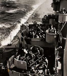 Illustration 4  — Battleship USS Missouri attacked by a kamikaze.