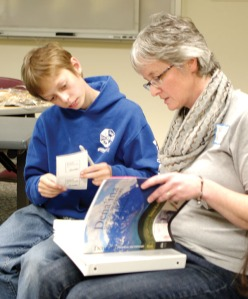 "Jacob Nabholz attends the class with his mother, Susan Nabholz. He is one of several younger people in the class, a trend which instructor Sondra Shaginoff-Stuart finds encouraging for the future of the language. ""That's how you bring a language back is through your children. ... You never know if one of these younger people are going to take this forward and really learn,"" she said."