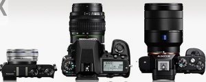 Illustration 3 — Panasonic GM5, Pentax K-5 and Sony A7r with kit zoom lenses.