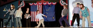 """Photos by Jenny Neyman, Redoubt Reporter. The cast of """"Lame Ducks and Dark Horses"""" performs a parody song of """"West Side Story,"""" where Republicans and Democrats are the rivals."""