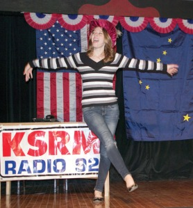 "Delana Duncan does a ""My Fair Lady"" takeoff of KSRM news director Catie Quinn's Australian accent."