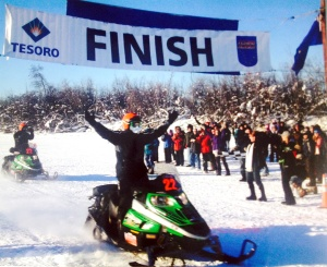 Photo courtesy of Scott Davis. Scott Davis crosses the Iron Dog finish line for his seventh win in 2007 with partner Todd Palin.