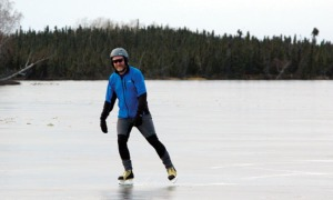 Tom Seggerman, of Sterling, has been skating for two weeks now, after punching test holes in the area's shallow, quick-freezing lakes two weeks ago to test ice depth. A minimum of 4 to 6 inches is recommended.