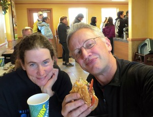 Photo courtesy of Clark Fair. Clark Fair and Yvonne Leutwyler sample the offerings at the new Subway in Dillingham last month, amid a line of other patrons. It's the first chain restaurant to come to the rural community.