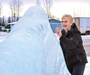 An ice walrus at Soldotna Professional Pharmacy delights Elaine Cessnun in 2010.