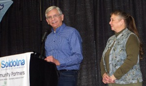 Photos by Jenny Neyman, Redoubt Reporter. Ron and Kathy Sexton, of Trinity Greenhouse, are the 2014 Pioneers of the Year for the Soldotna Chamber of Commerce.