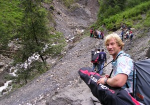 Johnson starts his first expedition to Tibet to climb and ski down the 27,000-foot Cho Oyu.