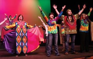 """Photos by Jenny Neyman, Redoubt Reporter. The Kenai Performers cast of """"Joseph and the Amazing Technicolor Dreamcoat"""" rehearse the finale number Monday. The show opens Friday in Kenai."""