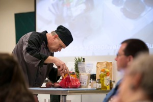 Photos courtesy of Mark Pierson, www.facebook.com/MarkPiersonPhotography. Steve England, a chef with Kenai Catering, examines his ingredients in the entrée round in the Clash of the Culinary Kings fundraiser held Saturday at the Challenger Center of Alaska in Kenai.