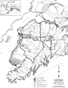 Courtesy of the University of Alaska Fairbanks. This Bureau of Reclamation map in 1952 show areas, marked with a grid pattern, that were surveyed for homesteading and other private settlement.  Each square in the grid represents a township.