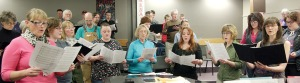 The community choir has about 60 members, and will start up again next fall after a hiatus this summer. Anyone with any level of singing experience is welcome to participate