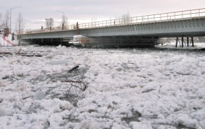 Redoubt Reporter file photo. Breakup can be a nerve-wracking time of year for residents of low-lying areas along the Kenai River, when ice jams, like this one backed up to the Soldotna bridge in 2007, can cause flooding.