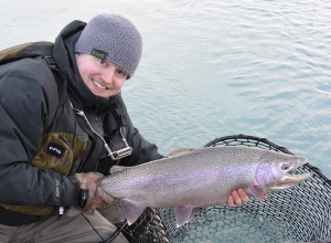Photo courtesy of Brendyn Shiflea. The mild winter has heated up what's usually the offseason for fishing. Brendyn Shiflea caught this rainbow trout in the Kenai River this winter.