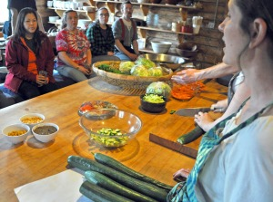 Photo by Joseph Robertia, Redoubt Reporter. Ionia elder Eliza Eller provides instruction during a cooking class that was part of Healing Our Future, a workshop to exchange ideas revolving around diet and health.
