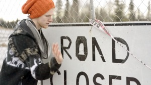 """Photos courtesy of Artistic Puppy. Conway Seavey bangs on a road sign to create a percussion track for his music video to Maroon 5's """"Payphone,"""" released earlier this month."""