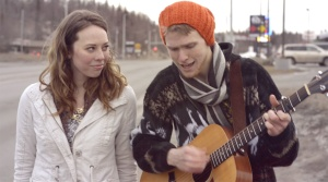 Seavey and Delana Duncan stroll down the Sterling Highway in the video.