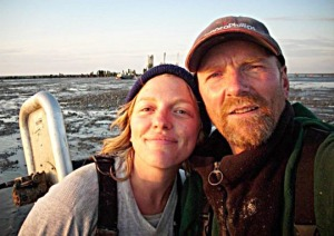 Photo courtesy of Aurora (Heames) Galloway. Aurora (Heames) Galloway and Jeff Heames, fishing in Bristol Bay. Galloway, originally from the Kenai Peninsula, says that public radio is vital for fishing families to stay in touch in Alaska.
