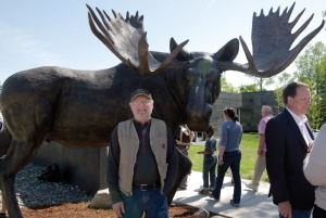"Soldotna resident Kenneth Brown won a contest to name the bull moose sculpture in front of the new visitor center with his suggestion, ""Majesty of the Kenai."""