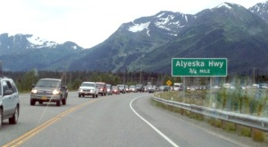 Photo by Jenny Neyman, Redoubt Reporter. Traffic headed back to Anchorage from the Kenai Peninsula after the July Fourth weekend was backed up as far as Girdwood on Sunday night.