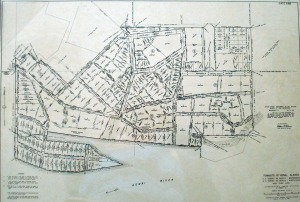 Image courtesy of Shana Loshbaugh. The original townsite map of what is now known as Old Town Kenai was created by surveyor Elliott Pearson, starting in 1951 and revised in 1954. The village of Kenai developed before modern-day subdivision standards came to Alaska. Note that the spit of land seen bottom left has now largely eroded with the crumbling bluff above the mouth of the Kenai River.