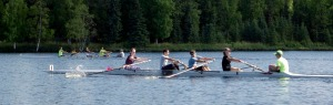 Photos by Jenny Neyman, Redoubt Reporter. Teams Four Oars and Rocky Rowers race in the Mackey Challenge youth rowing event put on by the Alaska Midnight Sun Rowing Association in Soldotna on Aug. 22.