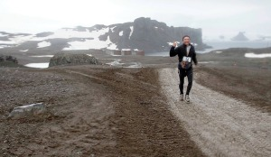 Photo courtesy of. Andrew Berkoski. Andrew Berkoski competes in a marathon in Antarctica in 2010.