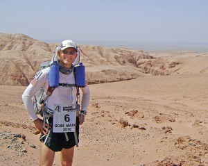 Photo courtesy of Andrew Berkoski. Andrew Berkoski competes in a an ultramarathon in the Gobi Desert in China in 2010, following a marathon in Antarctica a few months earlier. He trained for both by logging miles on the few running routes in Dillingham.
