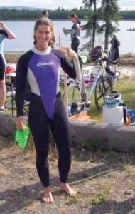 Photo courtesy of Cindy Tuckwood. Cindy Tuckwood prepares for a triathlon in Wisconsin in July after training in Dillingham, including getting up at 4:30 every morning to run, and swimming in an area lake in the summer.