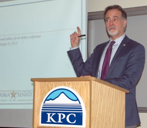 Photo by Jenny Neyman, Redoubt Reporter. Sen. Peter Micciche addresses constituents at a town hall meeting Dec. 2 at Kenai Peninsula College, held before the Legislature reconvenes Jan. 16. The topic of the state's budget took up most of the two-hour meeting, with time for questions following.