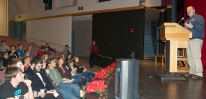 Kenai Peninsula Borough School District Superintendent Sean Dusek addresses rebelling students in a debate at Nikiski Middle-High School on Dec. 10.