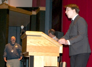 Photos by Jenny Neyman, Redoubt Reporter. Ross Halliday incites his fellow Nikiski High School students to secede from the Kenai Peninsula Borough with a fiery speech delivered Dec. 10 at the school. The assembly was a joint project between Joe Rizzo's English and Darren Zibell's social studies classes.