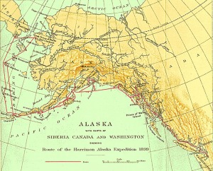 Graphic courtesy of the University of Washington Libraries Digital Collection. The Harriman Expedition of 1899 traveled from Seattle up to the Seward Peninsula, Russia and back, including a trip up Cook Inlet, with the scientists onboard taking copious notes of their observations along the way.