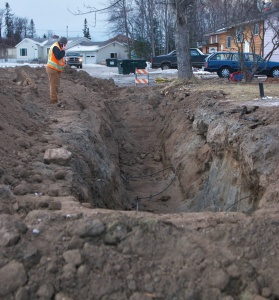 Enstar dug up several sections of gas line along Lilac Lane to stop leaks caused by the earthquake.