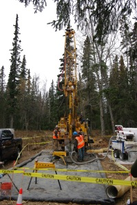 Redoubt Reporter file photo. Contractors for AK LNG drill core samples in Nikiski in 2014. This year is supposed to be the last of the prefront-end engineering and design phase.