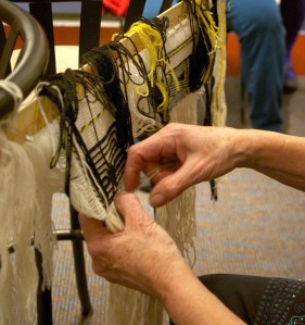 Ravenstail involved several intricate and complex weaving techniques, which Parker displayed for an eager crowd of local fiber artists.