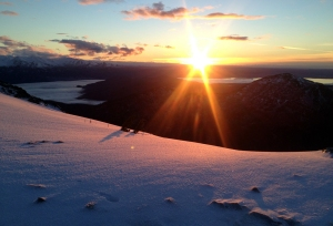 Photo by Jenny Neyman, Redoubt Reporter. A hike up Skyline Trail is one of the activities included in the Kenai National Wildlife Refuge's 75th anniversary activity list. So is seeing a sunset on the refuge, such as this one above Skilak Lake, seen from Skyline Trail.